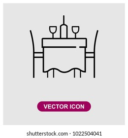 Dinner table sign icon in trendy flat style isolated on grey background, modern symbol vector illustration for web