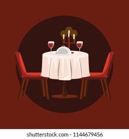dinner table vector illustration