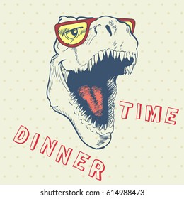 Dinner time of cool dinosaur.Smiling t-rex.Prints design for t-shirt