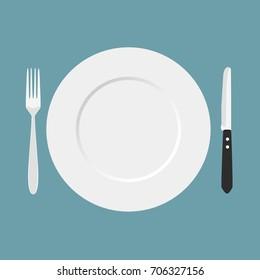 Dinner time. Cutlery. Vector illustration.