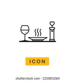 Dinner valentines day vector icon