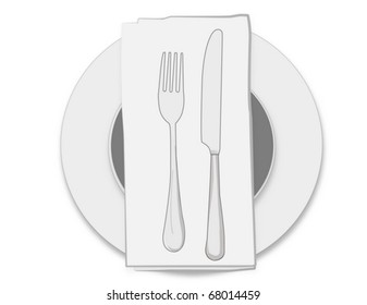 dinnerware set consisting of plate, fork, knife and napkin
