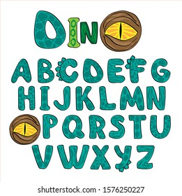 Dino alphabet colored.  Bright letters  in the style of dinosaurs. Kids Font