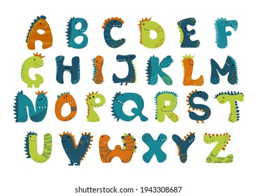 Dino alphabet Vector funny comic letters in cartoon style. Cute dinosaur abc illustration for kids, nursery, poster, card, birthday party, packaging paper design, baby t-shirts. Animal doodle font.