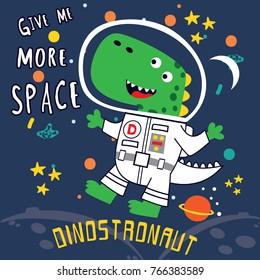 dino astronaut cartoon vector