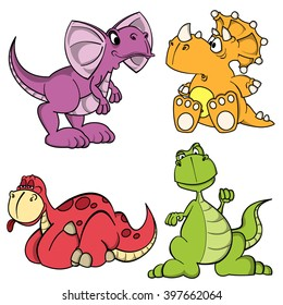 Dino baby series. Set of funny cartoon dinosaurs isolated on white.