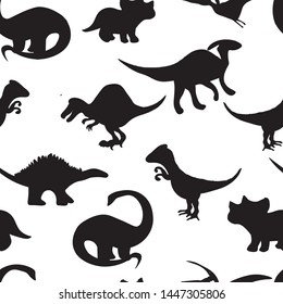 dino black on white background animals vector seamless pattern. Concept for print , wallpapers, paper design
