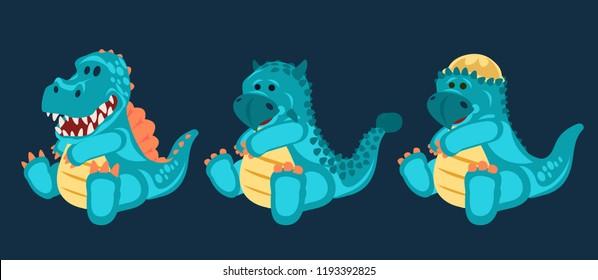 Dino Blue little cute baby dinosaurs toy, set (2/3), cartoon design, vector illustration, Spinosaurus, ankylosaurus, Pachycephalosaurus