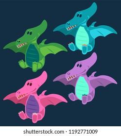 Dino, Dinosaur, 4 Cute baby pterodactyls dinosaurs toy set, cartoon design, vector illustration, set 4/8