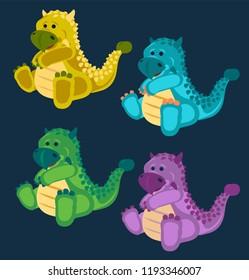 Dino, Dinosaur, 4 Cute baby ankylosaurus dinosaurs toy set, cartoon design, vector illustration, set 8/8