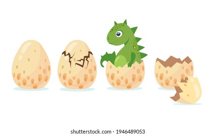 Dino or dragon hatching out of crashing egg. Flat vector illustration. Different birth stages of cute little cartoon dinosaur isolated on white background. Animal, history, dino concept for design