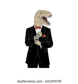 dino dressed up in tuxedo, anthropomorphic illustration, fashion animals