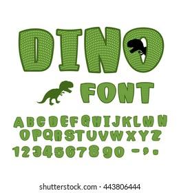 Dino font. dinosaur ABC. Texture animal of Jurassic period. Tyrannosaurus alphabet. Green Monster letters