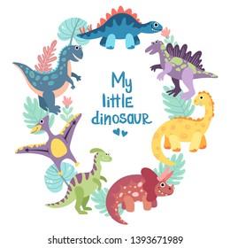 Dino frame for baby boy photo, drawing, print. Triceratops, t-rex, pteranodon, spinosaurus, stegosaurus, velociraptor, parasaurolophus, brontosaurus. Hand drawn flat vector dinosaurs.