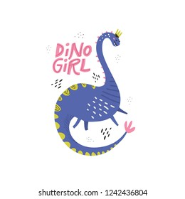Dino girl color flat hand drawn vector character. Cute dinosaur with crown and lettering. Girl power concept. Sketch Brachiosaurus. Isolated cartoon illustration for kids game, book, t-shirt, textile