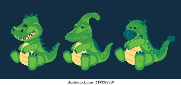 Dino Green little cute baby dinosaurs toy, set (2/3), cartoon design, vector illustration, T-rex, Parasaurolophus, Ankylosaurus