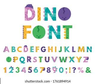 Dino hand drawn alphabet. Cartoon cute ABC letters dinosaurs for kids, comic dino english alphabet isolated vector icons illustration set. Alphabet dino style cartoon for kids, abc study illustration