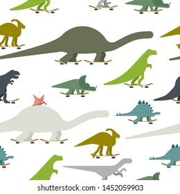 Dino on skateboard set pattern seamless. Dinosaur Skateboarder background. Prehistoric lizard monster riding longboard