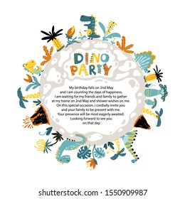 Dino party invitation. A round planet with dinosaurs, volcanoes and tropical fantastic plants. Colorful illustration in cartoon style with template for text.