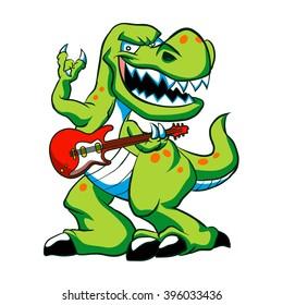Dino rock plays a guitar.