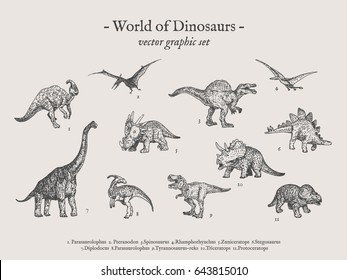 Dinos vintage vector drawings set with sign World of Dinosaurs