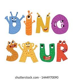 Dinosaur animal cute monster alphabet design vector illustration
