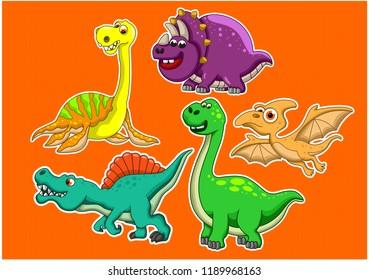 Dinosaur animal illustration stickers
