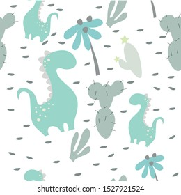Dinosaur baby boy. Cool illustration for newborn t-shirt, kids apparel, invitation, simple child design.