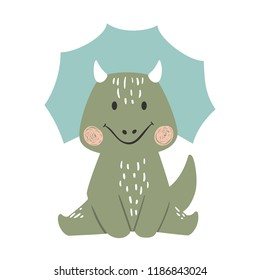 Dinosaur baby boy cute print. Sweet dino. Cool triceratops illustration for nursery t-shirt, kids apparel, invitation, simple scandinavian child design. Little one