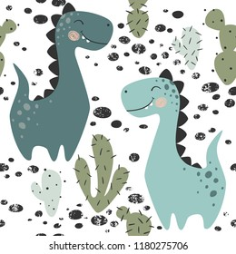 Dinosaur baby boy seamless pattern. Sweet dino with cactus. Scandinavian cute print. Cool brachiosaurus, illustration fo nursery t-shirt, kids apparel, invitation cover, simple child background design