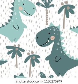 Dinosaur baby boy seamless pattern. Sweet dino with palm. Scandinavian cute print. Cool t-rex illustration for nursery t-shirt, kids apparel, invitation cover, simple child background design
