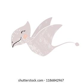 Dinosaur baby girl cute print . Sweet dino. Cool pterodactyl illustration for nursery t-shirt, kids apparel, invitation, simple scandinavian child design. Little fly
