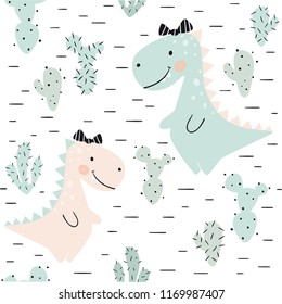 Dinosaur baby girl seamless pattern. Sweet dino princess with bow. Scandinavian cute print. Cool illustration for nursery t-shirt, kids apparel, invitation cover, simple child background design