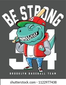 dinosaur and baseball vector design