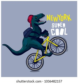 Dinosaur, bicycle vector illustration.Funny t-shirt print for kids.