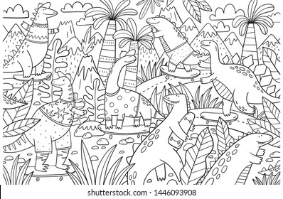 Dinosaur Big coloring page. Big Hand drawn coloring poster with cute dinosaur on a skateboard  for children.