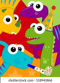Dinosaur Birthday Card - Festive and colorful birthday card with cute dinosaurs. Eps10