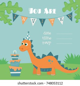 Dinosaur Birthday Invitation Illustration Orange Dino Celebrating Party With A Three Layered Cake
