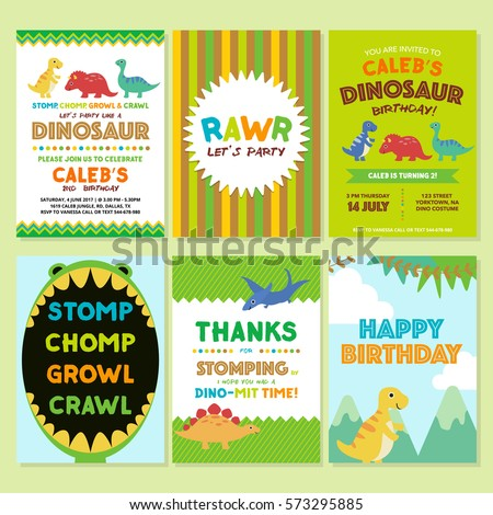 dinosaur birthday party invitation template stock vector royalty
