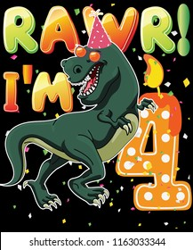 Dinosaur Birthday Shirt 4th Years Old Rawr I'm 4 T-shirt Vector Graphic Design
