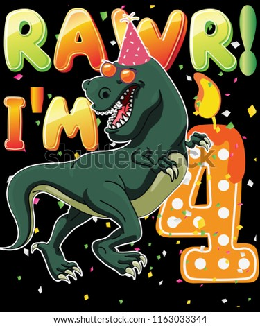 Dinosaur Birthday Shirt 4th Years Old Rawr Im 4 T Vector Graphic