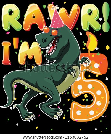 Dinosaur Birthday Shirt 5 Years Old Rawr Im T Vector Graphic
