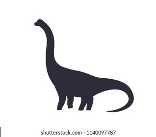 dinosaur, brachiosaurus silhouette isolated on white