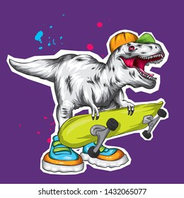 Dinosaur. Bright vector illustration. Cartoon reptile. Tyrannosaur. Print on clothes, drawing for postcards. Hipster. Skater. Sport. Skateboard, extreme.