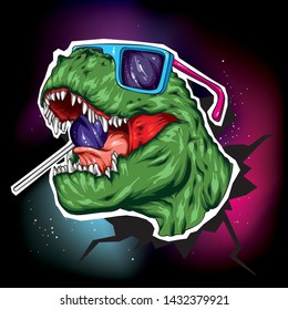 Dinosaur. Bright vector illustration. Cartoon reptile. Tyrannosaur. Print on clothes, drawing for postcards. Hipster. Lollipop and glasses.