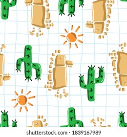Dinosaur, cactus, sun made from stones. Funny stone age seamless pattern. Uncommon baby design in green, orange, send color vector illustration on school quad ruled sheet background for kids clothing