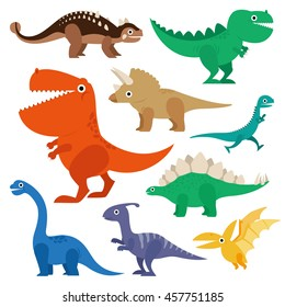 Dinosaur cartoon collection set vector illustration