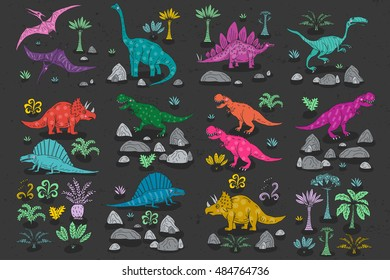 Dinosaur cartoon collection set vector illustration. comic tyrannosaurus fantasy.