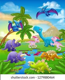 A dinosaur cartoon cute animal background prehistoric landscape scene.