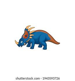 Dinosaur cartoon prehistoric horned animal isolated horned dino. Vector kind triceratops, horned dino of jurassic period, profile view. Dino with epoccipital fringe, herbivorous ceratopsid dinosaur